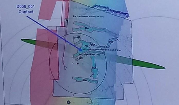 El contacto detectado y que resultó ser el ARA San Juan (Armada Argentina)