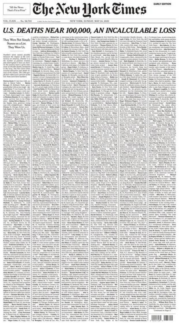 La portada completa del New York Times de este domingo 24 de mayo de 2020
