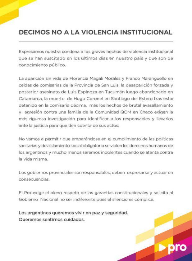 carta Pro violencia institucional