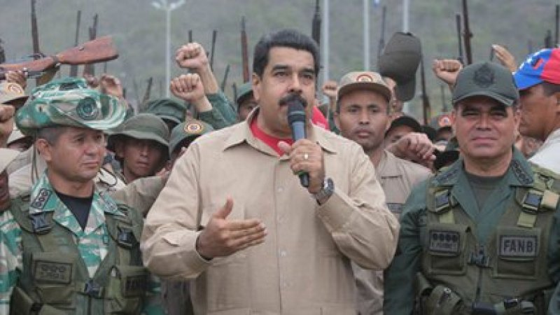 Nicolás Maduro in an act with the military