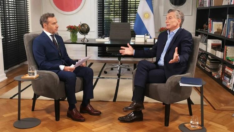 El presidente Mauricio Macri con Luis Majul