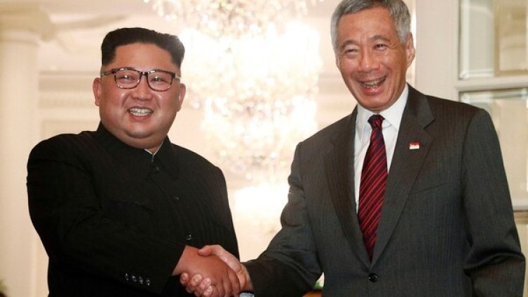 Kim Jong-un y el premier de Singapur Lee Hsein Loong (Reuters)