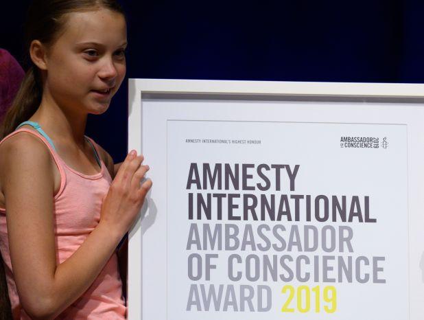 Greta recibió un premio en Washington esta semana (Photo by ANDREW CABALLERO-REYNOLDS / AFP)