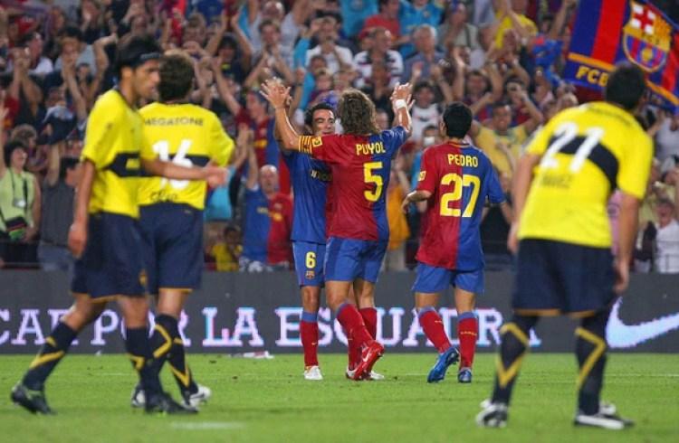 Barcelona ganó el Trofeo Joan Gamper de 2008 al vencer a Boca por 2 a 1(AFP)