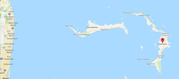 Islas Ábaco, primer lugar que golpeará Dorian (Foto: Google Maps)