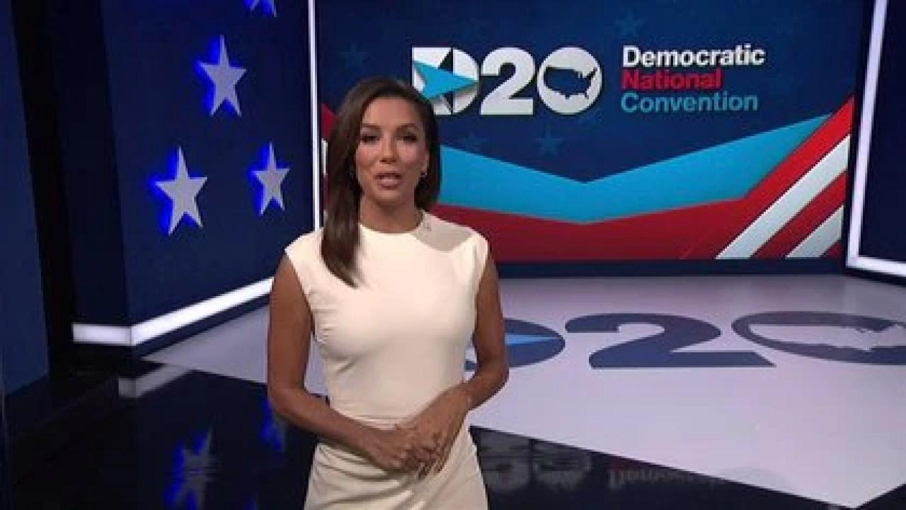 Eva Longoria durante la presentación de la Convención Demócrata.   2020 Democratic National Convention/POOL via REUTERS