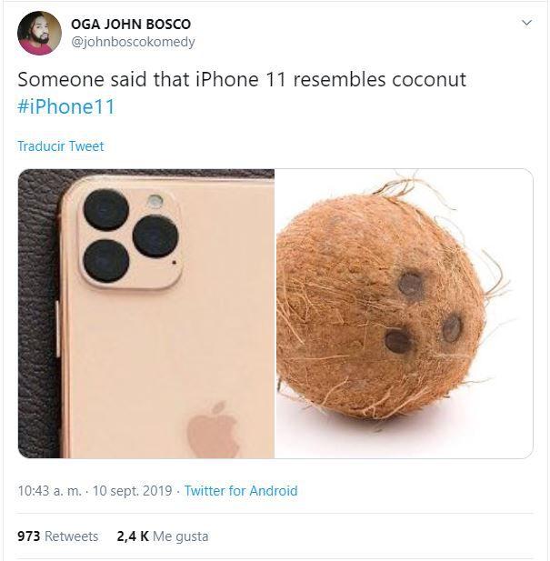 """""""Alguien dijo que el iPhone 11 se parece a un coco"""", señalaron en Twitter. (Foto: Twitter)"""