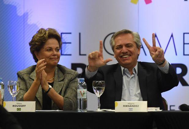 Dilma Rouseff y Alberto Fernández ayer en la cumbre del Grupo Puebla