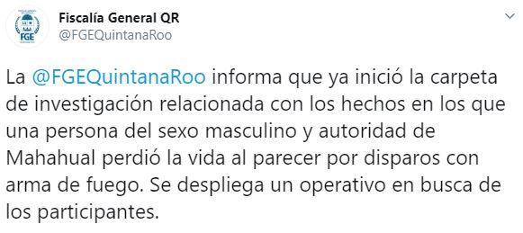 La FGE ya investiga el móvil del asesinato (Foto: Twitter/FGEQuintanaRoo)