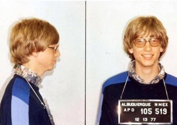 Bill Gates en su foto policial tomada el 13 de diciembre de 1977 (Uso de dominio publico)