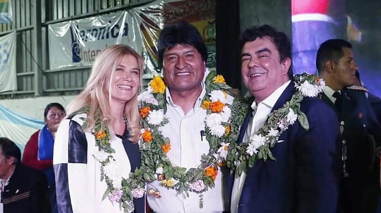 Evo Morales, junto a Verónica Magario y Fernando Espinoza