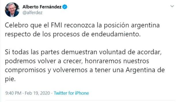 El tuit del presidente Fernández sobre el comunicado del FMI