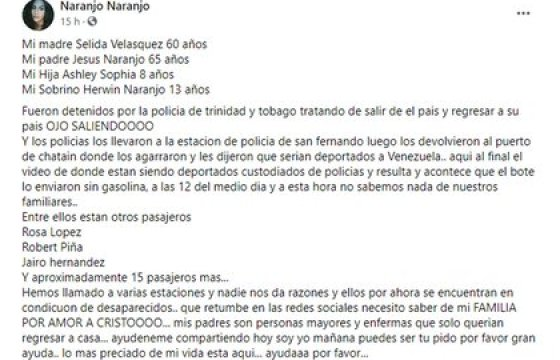 El mensaje de Selida Naranjo and Facebook
