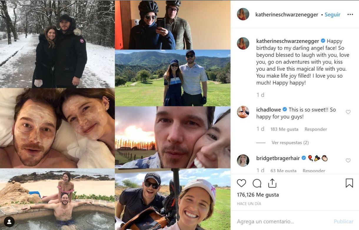 Katherine Schwarzenegger realizó un montaje de seis fotografías en Instagramen las que ambos aparecen en el campo de golf, en un jacuzzi o de excursión (Foto: Instagram @KatherineSchwarzenegger)