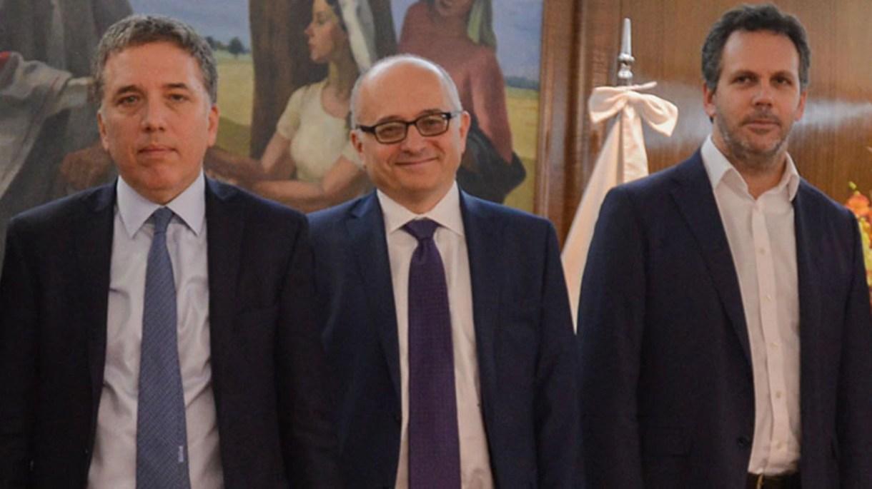 Dujovne, Cardarelli, del FMI, y Sandleris