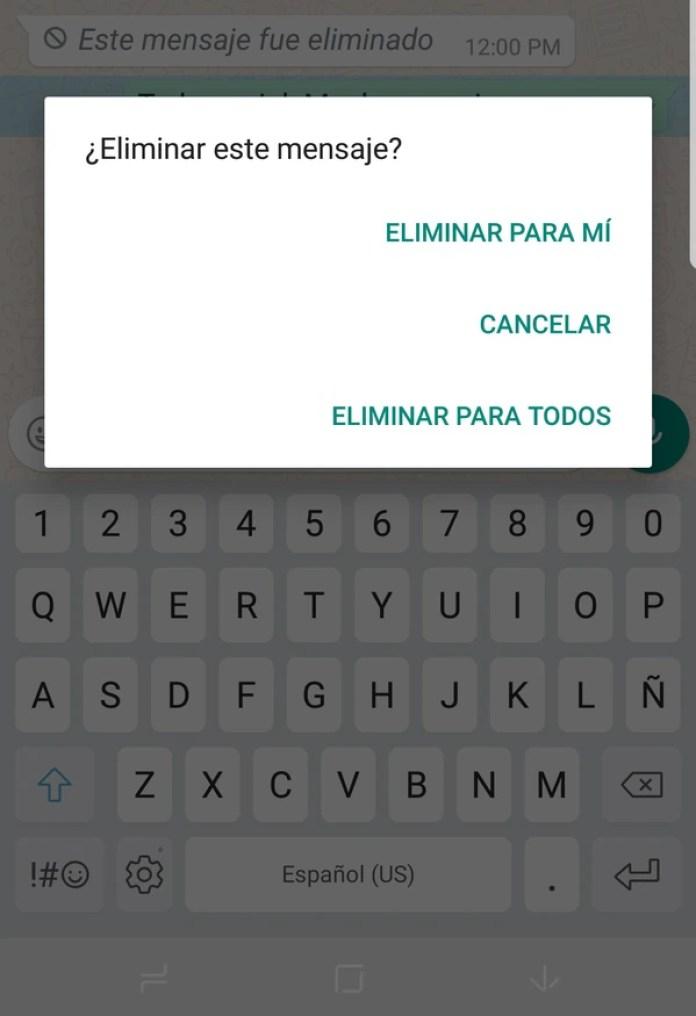 Las opciones para borrar mensajes enviados