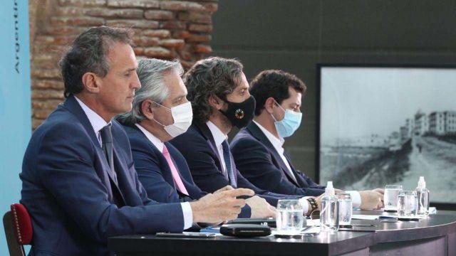 Gabinete Federal: Alberto Fernández, Santiago Cafiero, Wado de Pedro y Gabriel Katopodis.