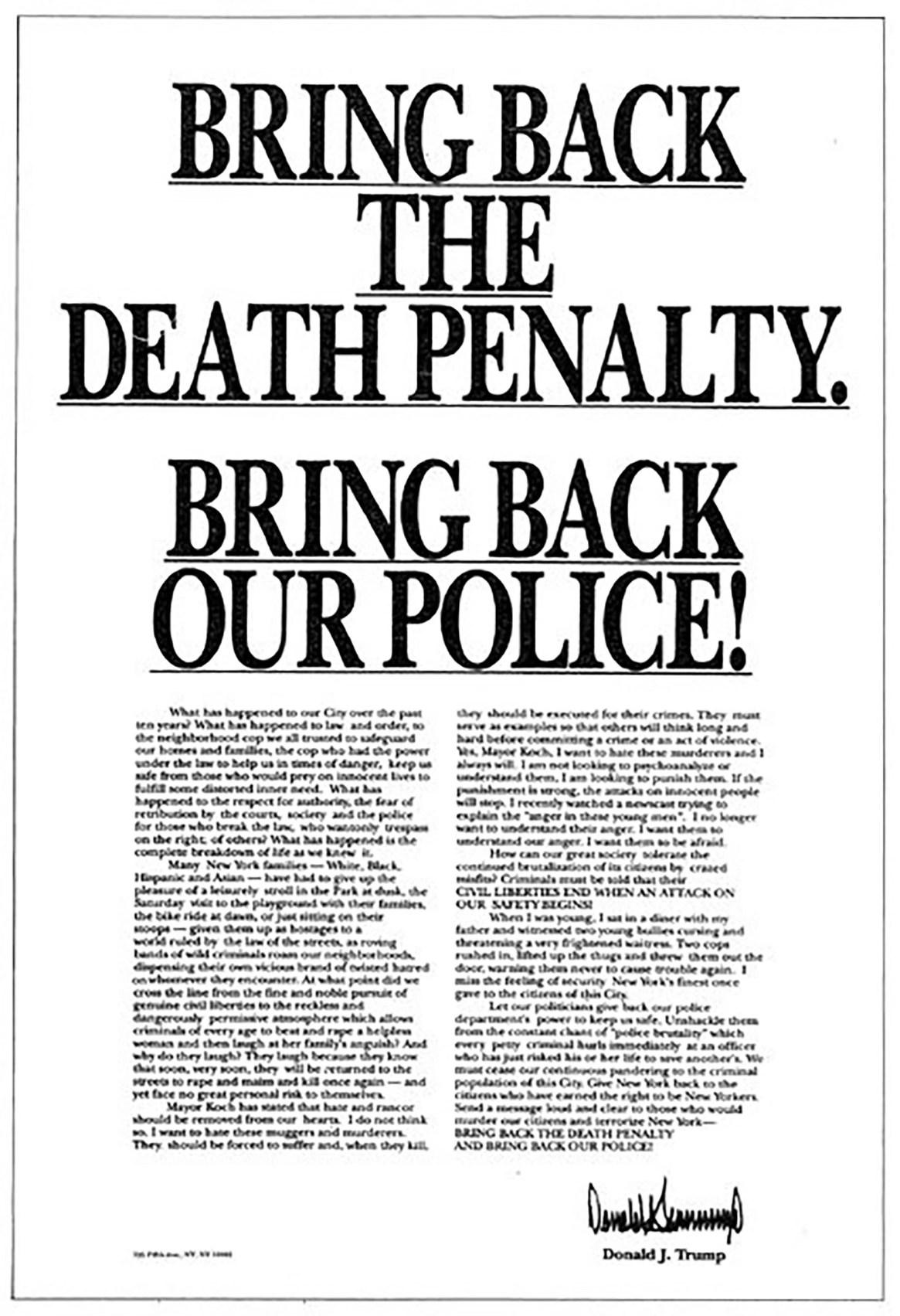Donald Trump llegó a pagar anuncios en los principales diarios pidiendo que los menores fueran condenados a la pena de muerte