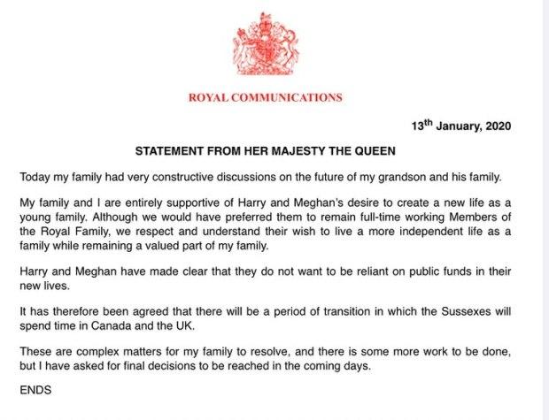 El comunicado del Palacio de Buckingham sobre la decisión de Harry y Meghan de renunciar a sus obligaciones como miembros de la realeza británica (Buckingham Palace)