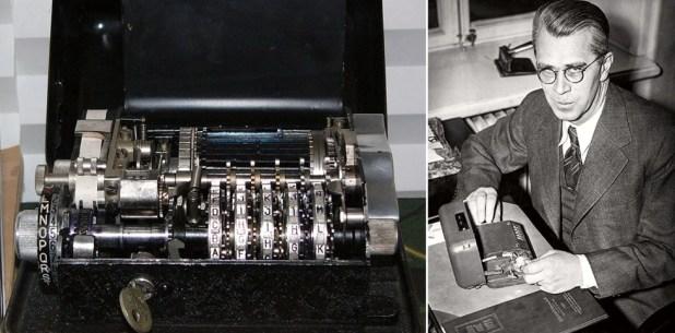 Boris Hagelin, fundador de Crypto en la Segunda Guerra Mundial, y una de sus máquinas para criptógrafos. (Wikipedia)