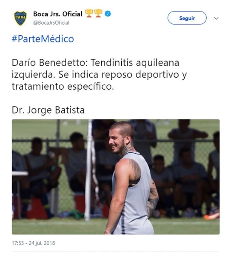 El parte médico de Darío Benedetto