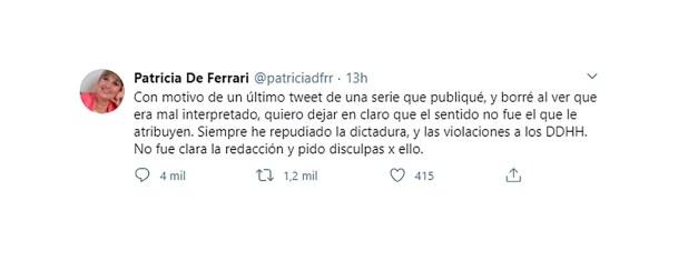 Patricia De Ferrari tuit