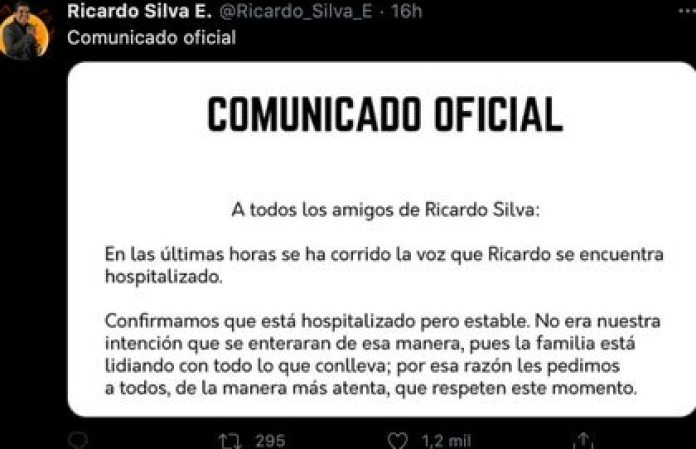 El comunicado señaló que el actor se encuentra estable (Foto: Twitter@Ricardo_Silva_E)