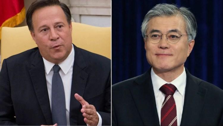 Juan Carlos Varela y Moon Jae-in, mandatarios de Panamá y Corea del Sur