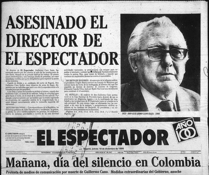 Portada del diario El Espectador al día siguiente del asesinato de su director.