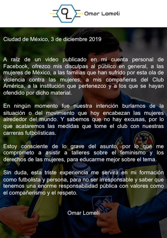 Disculpa pública de Omar Lomelí (Foto: Twitter @Omar_Lomeli16)