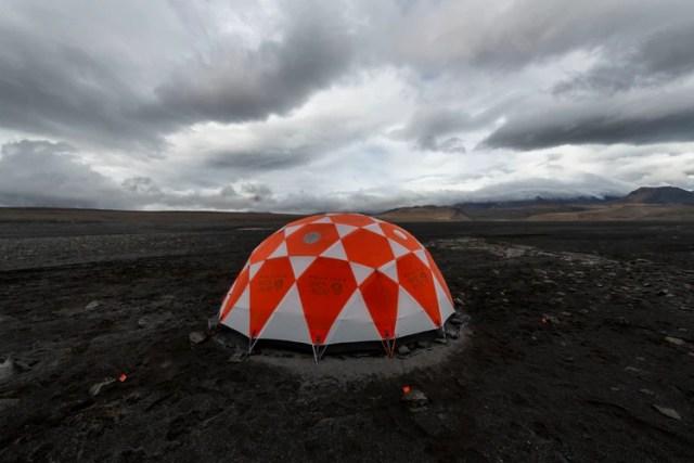 La base de la NASA en el campo volcánico (Halldor Kolbeins/AFP)