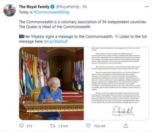 El primer tuit de la cuenta oficial de la corona británica tras la entrevista entre el príncipe Harry y Meghan Markle