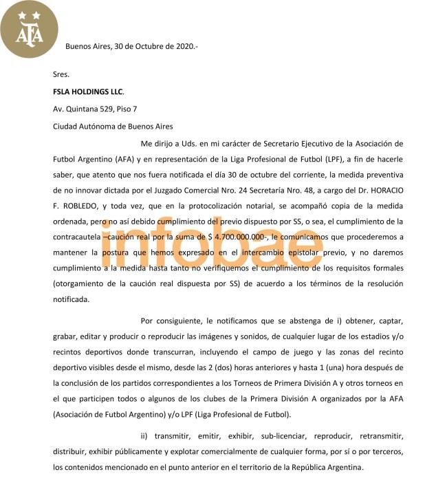 Carta AFA contra Fox