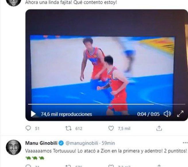 La reacción de Manu Ginóbili por el debut de Deck (Twitter)