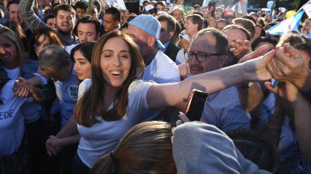 María Eugenia Vidal durante la multitudinaria convocatoria de Cambiemos en la Avenida 9 de Julio (Maximiliano Luna)