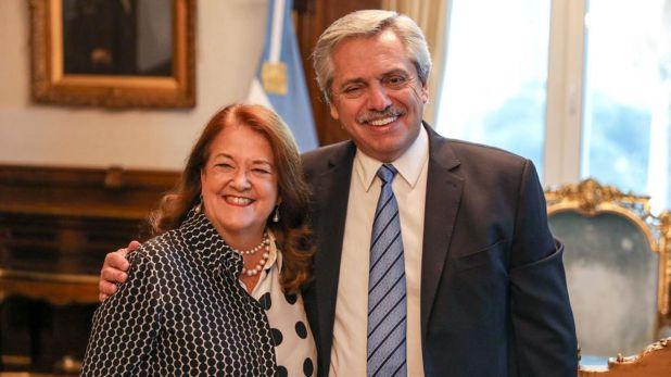 Alberto Fernández y Alicia Castro en la Casa Rosada, cuando aún estaba firme su cargo en Rusia