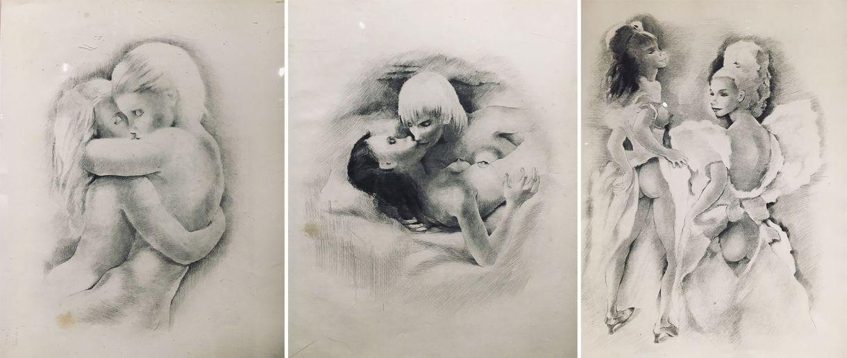 Dibujos eróticos que vendía en la trastienda de la Boutique de Frers