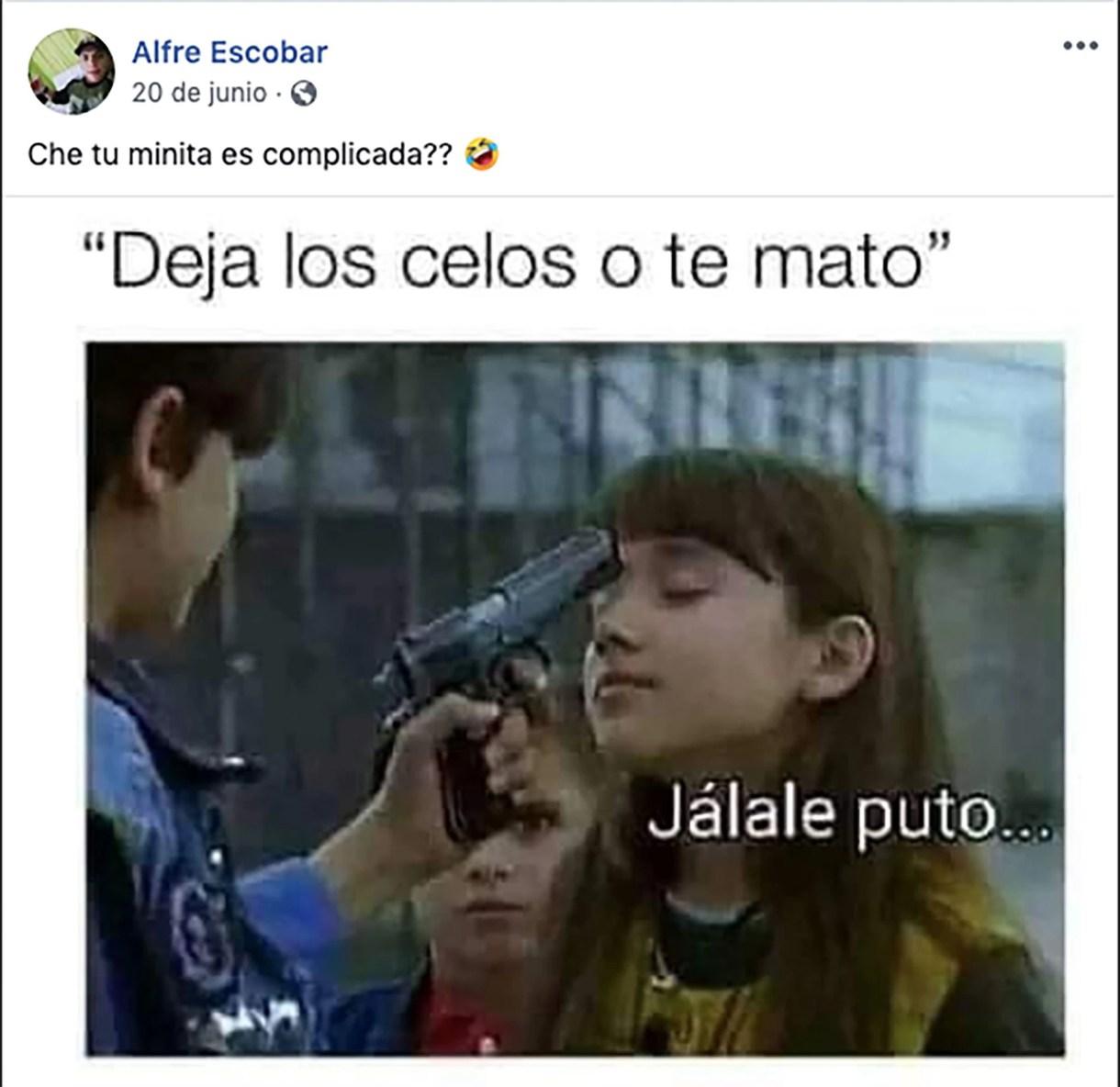 El violento posteo de Escobar, en junio pasado