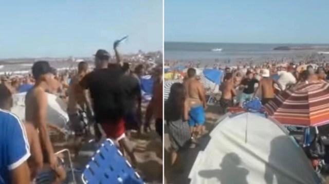En el video se observa cómo uno de los jóvenes ataca con un palo