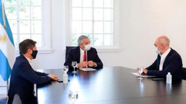 Kicillof, Fernández y Rodríguez Larreta, el miércoles pasado en Olivos
