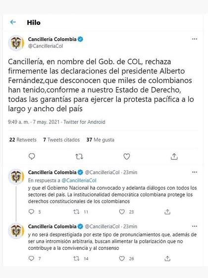 Cancillería Colombia rechazó las declaraciones Alberto Fernández sobre la crisis social en aquel país (Twitter)