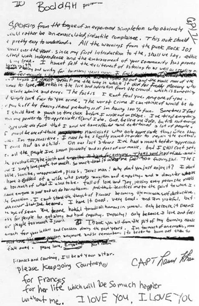 Nota suicida de Kurt Cobian