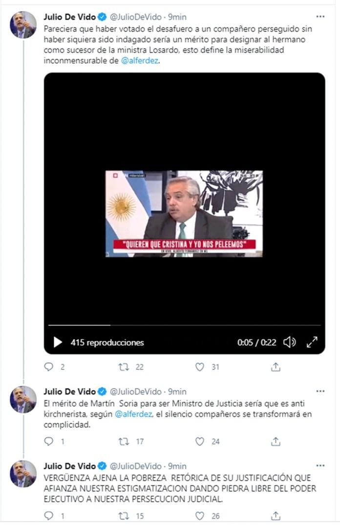 Hilo de twitter de De Vido sobre Alberto Fernandez y Soria