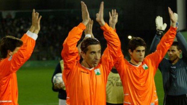 Molina con la ropa de Ferro durante sus últimos partidos oficiales (FotoBaires)