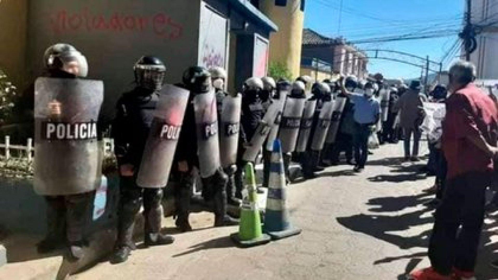 La policía hondureña durante una de las manifestaciones