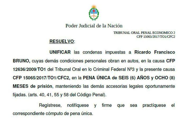 Ricardo Bruno condena unificada