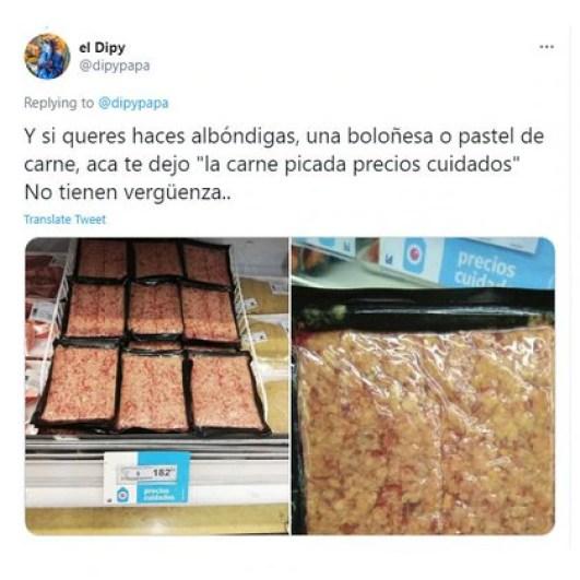 La carne picada que postó el cantante de cumbia