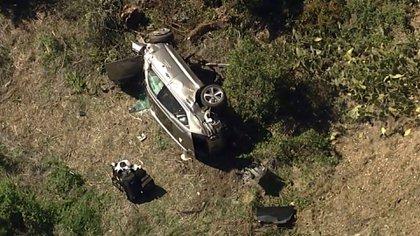 Tiger viajaba solo en su automóvil en el momento de la colisión (KABC-TV via AP)