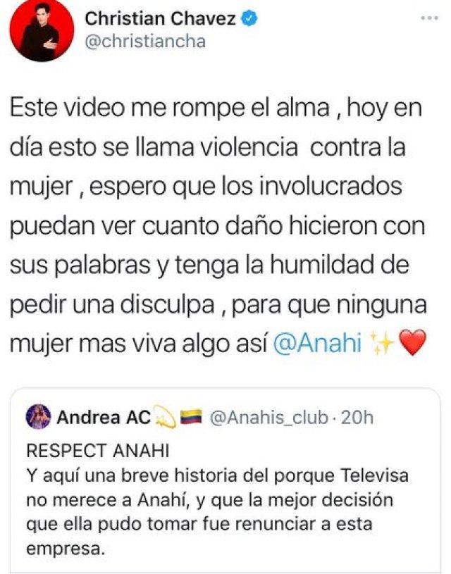Christian Chávez compartió un tuit en apoyo a Anahí (Foto: @christiancha/ Twitter)