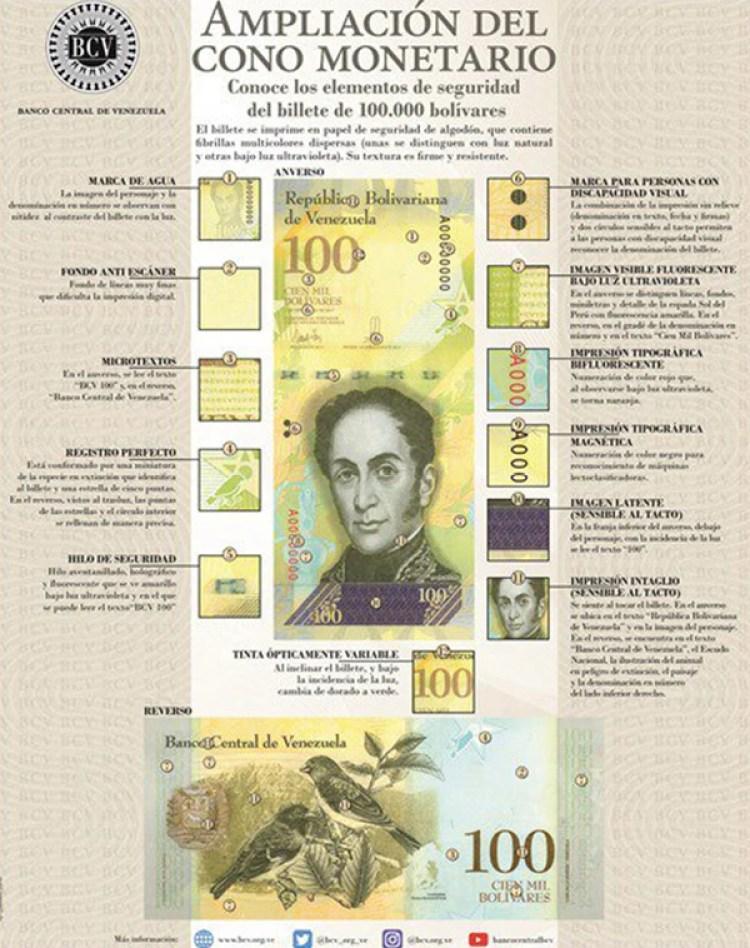 Las características del nuevo billete de 100 mil bolívares